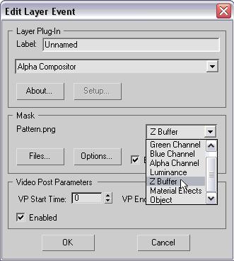 Рис. 50. Настройка параметров смешивания по маске с учетом канала ZBuffer