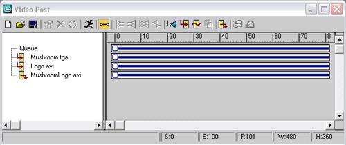 Рис. 61. Первоначальный вид очереди в окне VideoPost