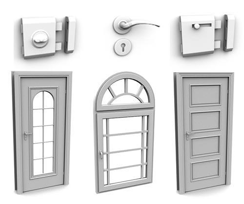 3d модели дверей, ручек, окон, замков