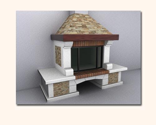 3d модель камина - 3d max